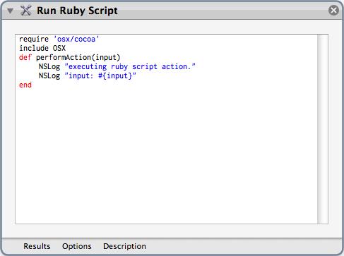 Run Ruby Script Automator Action